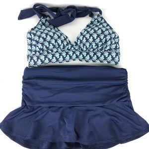 Lands End Halter Bikini Swim Mini Skirt Set Navy 4